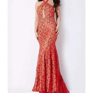 Lace Red Jovani Pageant Gown